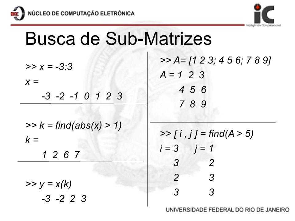 Busca de Sub-Matrizes >> A= [1 2 3; 4 5 6; 7 8 9]